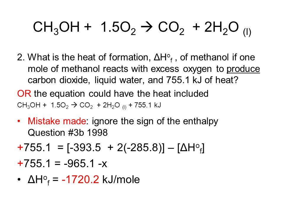 CH3OH + 1.5O2  CO2 + 2H2O (l) +755.1 = [-393.5 + 2(-285.8)] – [ΔHof]